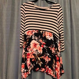 Tops - Floral and Stripes Tunic